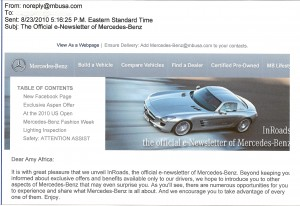 Who The Hell Is No Reply & Why Is He Writing Me? E-Mail Worst Practices: Mercedes-Benz