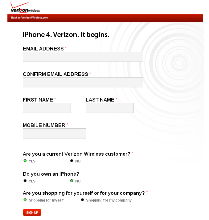 Worst Practices: Verizon iPhone Sign-Up Page